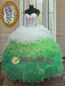 Trendy Floor Length Lace Up Ball Gown Prom Dress Multi-color and In for Military Ball and Sweet 16 and Quinceanera with Beading and Ruffles and Sashes|ribbons