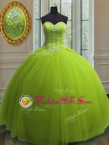 Modest Yellow Green Lace Up Sweetheart Beading and Sequins 15th Birthday Dress Tulle Sleeveless