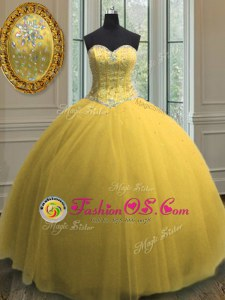 Gold Ball Gowns Sweetheart Sleeveless Tulle Floor Length Lace Up Beading and Sequins Sweet 16 Dress