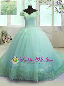 Fashion Off The Shoulder Sleeveless 15 Quinceanera Dress With Train Court Train Hand Made Flower Turquoise Organza