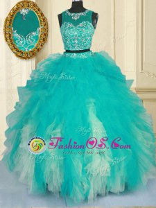 Scoop Sleeveless Beading and Ruffles Zipper Quinceanera Dresses