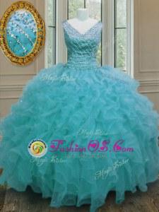 Gorgeous Aqua Blue Ball Gowns V-neck Sleeveless Organza Floor Length Zipper Beading and Ruffles Sweet 16 Dress