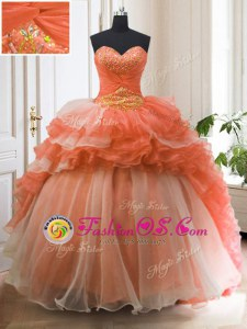 Orange Red Ball Gowns Organza Sweetheart Sleeveless Beading and Ruffled Layers With Train Lace Up Sweet 16 Dress Sweep Train
