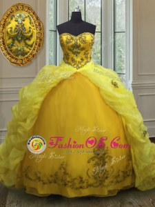 Vintage Yellow Green Ball Gowns Sweetheart Sleeveless Organza With Train Court Train Lace Up Beading and Appliques and Pick Ups Sweet 16 Dresses