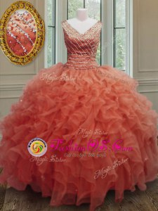 Clearance Orange Red Organza Zipper V-neck Sleeveless Floor Length 15 Quinceanera Dress Beading and Ruffles