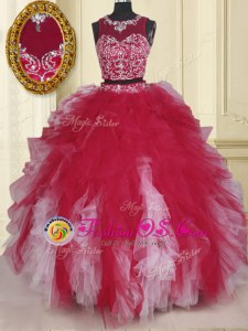 White And Red Scoop Zipper Beading and Ruffles Quince Ball Gowns Sleeveless