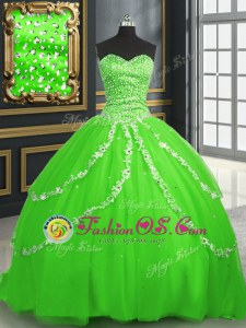 Fabulous Floor Length White Sweet 16 Dresses Organza Sleeveless Beading and Ruffles