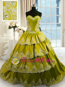 Olive Green Sweetheart Neckline Beading and Appliques and Ruffled Layers 15 Quinceanera Dress Sleeveless Lace Up