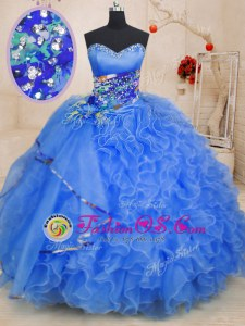 Eye-catching Sweetheart Sleeveless Organza 15th Birthday Dress Beading and Ruffles Lace Up