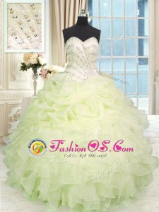 Dramatic Sweetheart Sleeveless Organza Quinceanera Gown Beading and Ruffles Lace Up
