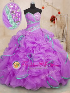 Spectacular Purple Ball Gowns Straps Sleeveless Organza Floor Length Lace Up Beading and Ruffles and Pick Ups Quinceanera Dresses