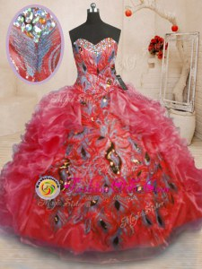 Sleeveless Floor Length Beading and Appliques and Ruffles Zipper Quinceanera Gowns with Red