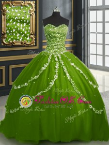 Olive Green Sleeveless Brush Train Beading and Appliques With Train Quinceanera Gown