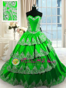Captivating Ball Gowns Sweetheart Sleeveless Taffeta With Train Court Train Lace Up Beading and Appliques and Ruffled Layers Quince Ball Gowns