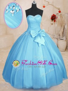 Baby Blue Ball Gowns Tulle Sweetheart Sleeveless Beading and Bowknot Floor Length Lace Up 15th Birthday Dress