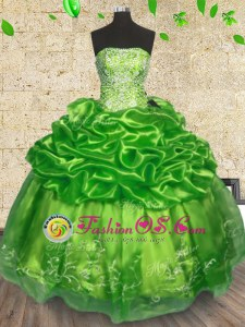 Shining Strapless Sleeveless Organza 15 Quinceanera Dress Beading and Embroidery Lace Up