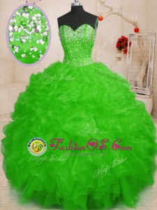Admirable Lace Up Quinceanera Dress Beading and Ruffles Sleeveless Floor Length