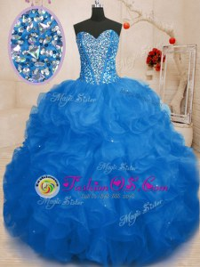 Sleeveless Organza Floor Length Lace Up Vestidos de Quinceanera in Blue for with Beading and Ruffles