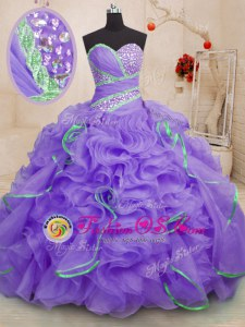 Lavender Ball Gowns Sweetheart Sleeveless Organza With Brush Train Lace Up Beading and Ruffles Vestidos de Quinceanera