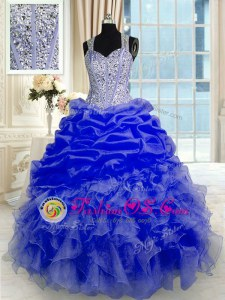 High Quality Blue Sleeveless Beading and Ruffles Floor Length Quinceanera Gowns