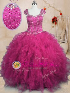 Classical Fuchsia Lace Up Square Beading and Ruffles Sweet 16 Dresses Tulle Cap Sleeves