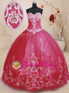 Sleeveless Tulle Floor Length Lace Up Quinceanera Dresses in Red for with Beading and Embroidery