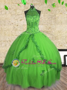 Eye-catching Halter Top Sleeveless Lace Up Sweet 16 Dresses Tulle