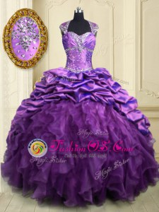 Purple Lace Up Sweetheart Beading and Ruffles and Pick Ups Sweet 16 Dress Organza and Taffeta Cap Sleeves Brush Train