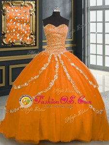 High Class Sweetheart Sleeveless Quince Ball Gowns With Brush Train Beading and Appliques Orange Tulle