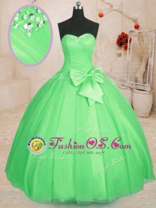 Exquisite Tulle Sleeveless Floor Length Vestidos de Quinceanera and Beading and Bowknot