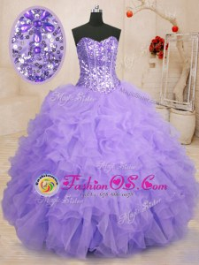Fancy Lavender Sweetheart Neckline Beading and Ruffles Sweet 16 Dress Sleeveless Lace Up