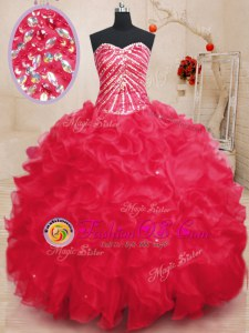 Chic Coral Red Organza Lace Up Sweet 16 Dresses Sleeveless Floor Length Beading and Ruffles and Sequins