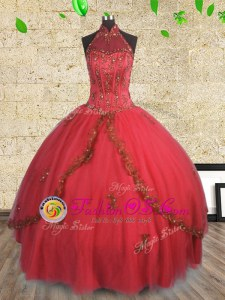 Halter Top Sleeveless Tulle 15th Birthday Dress Beading Lace Up
