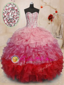 Brown Lace Up Quinceanera Dresses Beading and Appliques and Ruffled Layers Sleeveless With Train Court Train