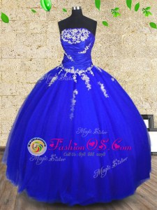 Royal Blue Lace Up Strapless Appliques and Ruching 15 Quinceanera Dress Tulle Sleeveless