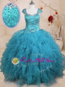 Designer Baby Blue Cap Sleeves Floor Length Beading and Ruffles Lace Up Sweet 16 Dresses