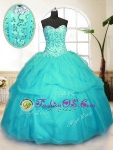 Spectacular Sweetheart Neckline Beading and Ruffles Quince Ball Gowns Sleeveless Lace Up