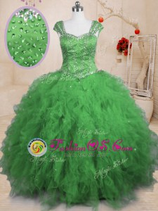 Vintage Cap Sleeves Floor Length Beading and Ruffles Lace Up Quinceanera Gown with