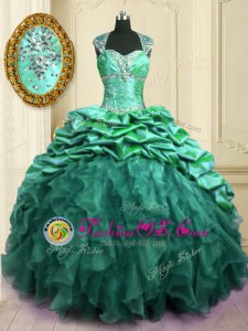 With Train Lace Up Quinceanera Gowns Turquoise and In for Military Ball and Sweet 16 and Quinceanera with Beading and Ruffles and Pick Ups Brush Train