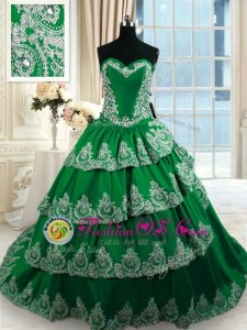Dark Green Sweetheart Lace Up Beading and Appliques and Ruffled Layers Sweet 16 Dresses Court Train Sleeveless