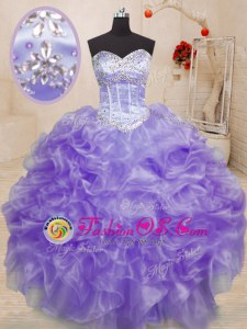 Sweetheart Sleeveless Lace Up Quinceanera Dress Lavender Organza
