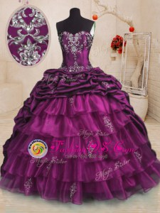 Classical Cap Sleeves Tulle Floor Length Lace Up Quinceanera Gown in Purple for with Beading and Ruffles and Sequins