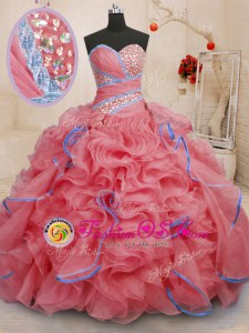 Coral Red Lace Up Sweetheart Beading and Ruffles Sweet 16 Quinceanera Dress Organza Sleeveless Brush Train