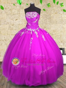 Romantic Sleeveless Floor Length Appliques and Ruching Lace Up 15 Quinceanera Dress with Fuchsia
