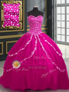 Luxury Sequins Ball Gowns Quince Ball Gowns Multi-color Sweetheart Tulle Sleeveless Floor Length Lace Up