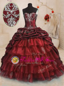 New Arrival Sleeveless With Train Beading and Appliques and Ruffled Layers and Pick Ups Lace Up Quinceanera Dresses with Wine Red Sweep Train