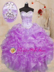 Cheap Organza Lace Up 15th Birthday Dress Sleeveless Floor Length Beading and Ruffles