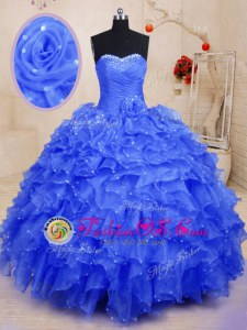 Custom Made Blue Organza Lace Up 15th Birthday Dress Sleeveless Floor Length Beading and Ruffles and Hand Made Flower