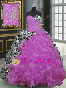 Organza and Printed Sleeveless With Train Quinceanera Dress Brush Train and Beading and Ruffles and Pattern