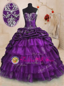 Sophisticated Organza and Taffeta Sleeveless With Train Quinceanera Gown Sweep Train and Beading and Appliques and Ruffled Layers and Pick Ups